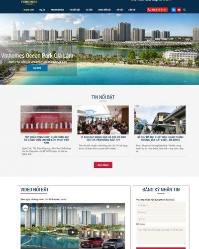 Mẫu website bất động sản Vinhomes Luxury