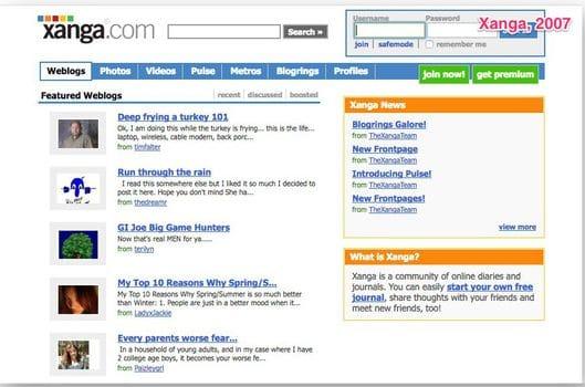 Mẫu website xâng.com năm 2007
