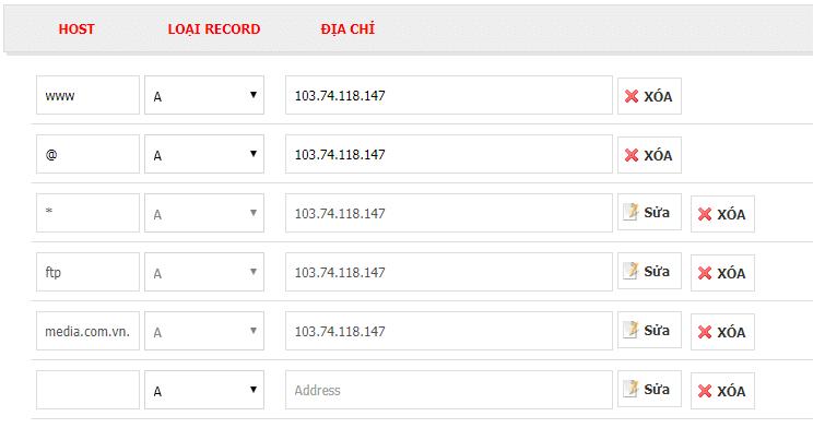 Tên miền được trỏ (kết nối) với địa chỉ IP của hosting.