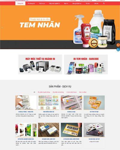Mẫu website giới thiệu dịch vụ, công ty in ấn