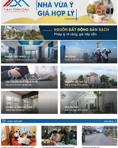 Mẫu website bất động sản T&H Toàn Cầu