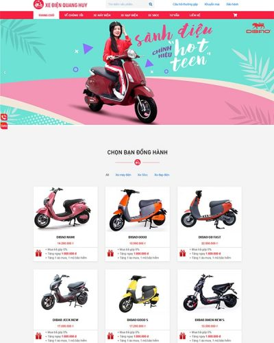 Mẫu website xe máy, xe đạp điện đẹp, hiện đại