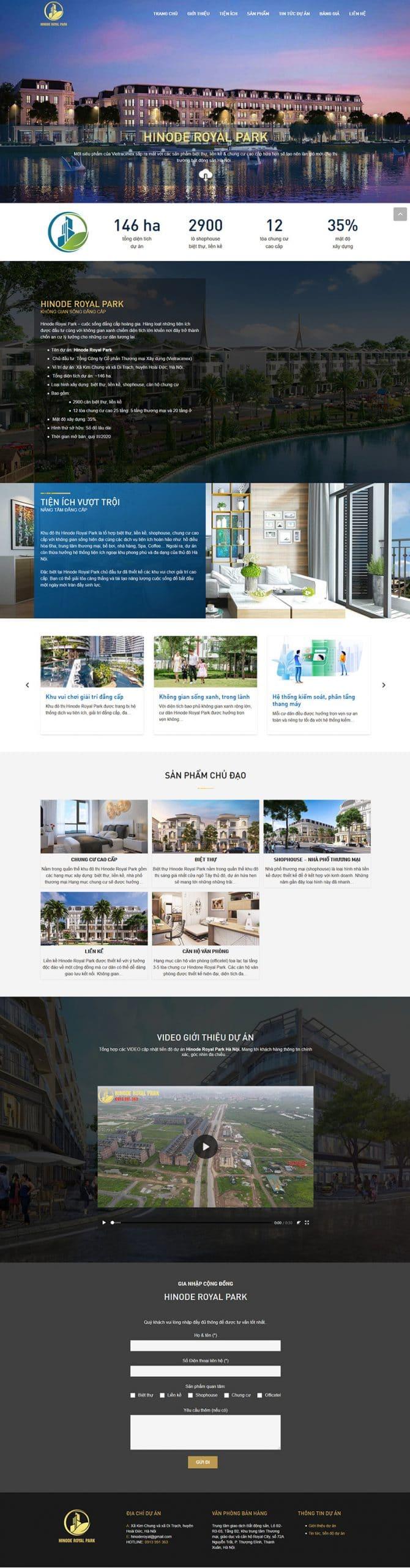 Ảnh chụp màn hình toàn bộ website Hinode Royal Park