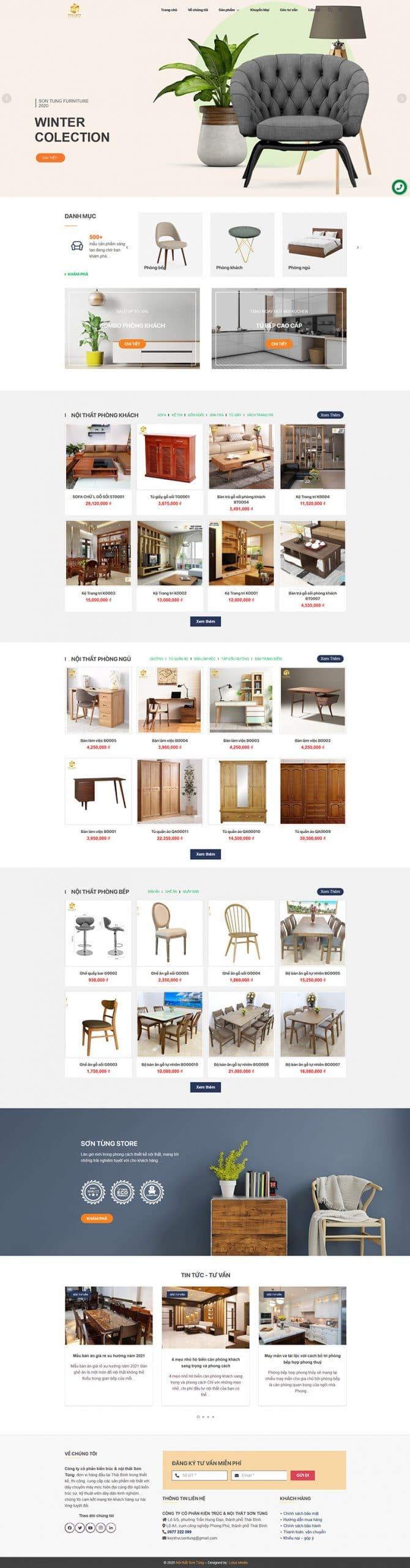 Ảnh chụp toàn trang website kiến trúc nội thất Sơn Tùng