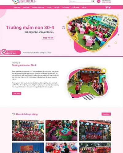 Mẫu website trường Mầm Non 30-4. TP Lạng Sơn đẹp mắt, chuẩn SEO, đa năng