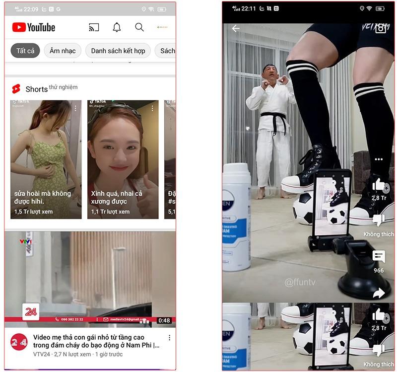 Youtube Short hiển thị trên thiết bị di động